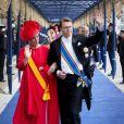 La princesse Laurentien et le prince Constantijn à la prestation de serment solennelle du roi Willem-Alexander des Pays-Bas, le 30 avril 2013 à la Nouvelle Eglise (Nieuwe Kerk) d'Amsterdam.