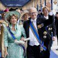 La princesse Margriet et Pieter van Vollenhoven à la prestation de serment solennelle du roi Willem-Alexander des Pays-Bas, le 30 avril 2013 à la Nouvelle Eglise (Nieuwe Kerk) d'Amsterdam.