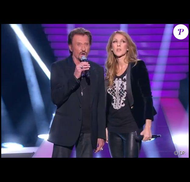 Céline Dion et Johnny Hallyday sur le plateau de l'émission Céline Dion, Le grand show sur France 2 en novembre 2012.