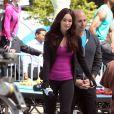 Megan Fox au côté de Will Arnett sur le tournage de Tortues Ninja dans le Midtown, New York, le 7 mai 2013.