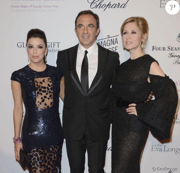 Eva Longoria, Nikos Aliagas et Lara Fabian à la 4eme édition du Global Gift Gala au George-V à Paris, le 13 mai 2013.