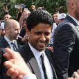 Nasser Al Khelaïfiquitte le Parc des Princes pourfêter le titre de Champion de France au Trocadero à Paris le 13 mai 2013.
