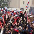 Les supporters du PSG fêtent leur victoire en Ligue 1 sur la place du Trocadero le 13 mai 2013.