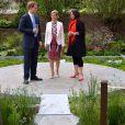 Le prince Harry accueille la comtesse Sophie de Wessex avec la paysagiste Jinny Bloom au jardin Sentebale/Forget-me-not du Chelsea Flower Show, lors de la journée d'inauguration VIP de l'exposition, le 20 mai 2013 à Londres.