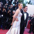Uma Thurman lors de la montée des marches de la cérémonie de clôture du Festival de Cannes le 26 mai 2013