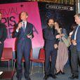 Bertrand Delanoe, Ashgar Farhadi (scenariste et realisateur Iranien) et Contantin Costa Gavras - Ashgar Farhadi recoit la medaille Grand Vermeil de la Ville de Paris par le maire Bertrand Delanoe a Paris le 6 juin 2013.