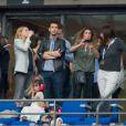 Laeticia Hallyday avec ses filles Jade et Joy, ainsi que Mademoiselle Agnès, la productrice Anne Marcassus et la chanteuse Dani lors du concert de Rihanna au Stade de France. Pas moins de 80 000 personnes ont assisté à ce concert exceptionnel à Paris, le 8 juin 2013