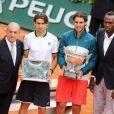 Jean Gachassin, David Ferrer, Rafael Nadal et Usain Bolt à Roland-Garros, à Paris le 9 juin 2013.