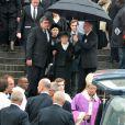 Gilberte Mauroy et son fils Fabienlors de l'hommage à Pierre Mauroy à Lille le 13 juin 2013.