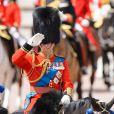 Le prince Charles, colonel des Welsh Guards, le 15 juin 2013, lors de la parade Trooping the Colour, à la gloire des forces armées et de l'anniversaire de la souveraine, Elizabeth II.