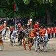 Le prince William, colonel des Irish Guards, entouré à sa droite de sa tante la princesse Anne, colonel des Blues and Royals, et à sa gauche de son père le prince Charles, colonel des Welsh Guards, au moment de l'arrivée de la reine Elizabeth II à Horse Guards Parade, à Londres le 15 juin 2013, lors de la cérémonie Trooping the Colour, à la gloire des forces armées et de l'anniversaire de la souveraine.