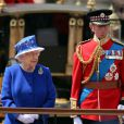 Queen Elizabeth II and Prince Michael, of Kent stand on a dias to review the troops during the annual Trooping of the Colours ceremony in London, UK on Saturday June 15, 2013. Britain's Queen Elizabeth II and members of the royal family at Buckingham Palace in central London for the Trooping of the Colours ceremony in celebration of the Queen's official Birthday. Prince Philip, the Duke of Edinburgh missed the occasion recuperating in hospital after a medical procedure. Photo by Michael Dunlea/Barcroft Media/ABACAPRESS.COM15/06/2013 - London