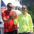 Heidi Klum et Martin Kirsten, complices au cours d'un jogging au Battery City Park. New York, le 15 juin 2013.