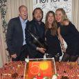 Henri Leconte avec sa fille Sara Luna et sa femme Florentine et Guy Forget lors de son 50e anniversaire célébré au restaurant Très Honoré à Paris le 30 mai 2013