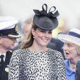 La duchesse de Cambridge Kate Middleton, enceinte, procède au baptême du navire Royal Princess, à Southampton, le 13 juin 2013.