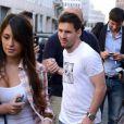 Lionel Messi et sa compagne Antonella Roccuzzo à Milan le 14 mai 2013.
