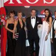 M. et Mme André Muhlberger, M. et Mme John Rossant, Melle Luo Zilin, Miss Chine 2011 et M. Gianluca Braggiotti à Monaco, au Bal de la rose, le 24 mars 2012.