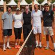 Arnaud Boetsch, Caroline Wozniacki, Prince Albert II de Monaco, Guy Forget et Andre Muhlberger, lors d'un match de tennis au Rolex Master de Monte Carlo, le 17 avril 2011.