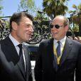 Christian Estrosi (maire de Lyon) et le Prince Albert II de Monaco - Quatrième étape du Tour de France, le 2 juillet 2013 à Nice.