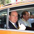 Le prince Albert II de Monaco et Christian Prudhomme, le directeur du Tour - Quatrième étape du Tour de France, le 2 juillet 2013 à Nice.