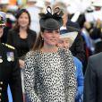 """La Duchesse de Cambridge, Kate Middleton, enceinte, procède au baptême du navire """"Royal Princess"""" à Southampton le 13 juin 2013."""