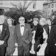 Jean Poiret, Caroline Cellier, Claude Chabrol, Stéphane Audran et Pauline Lafont au Festival de Cannes 1985 pour le film Poulet au vinaigre