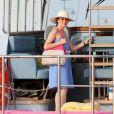 Soon-Yi sur le port de Saint-Tropez, le 28 Juillet 2013.