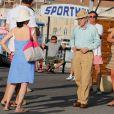 Woody Allen et sa femme Soon Yi sur le port à Saint-Tropez le 28 juillet 2013.