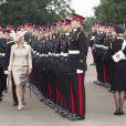 La comtesse Sophie de Wessex en visite à l'Académie militaire royale de Sandhurst le 9 août 2013, représentant la reine Elizabeth II pour la Sovereign's Parade marquant la fin de la formation des cadets, devenant après 44 semaines de cursus officiers au grade de sous-lieutenant.