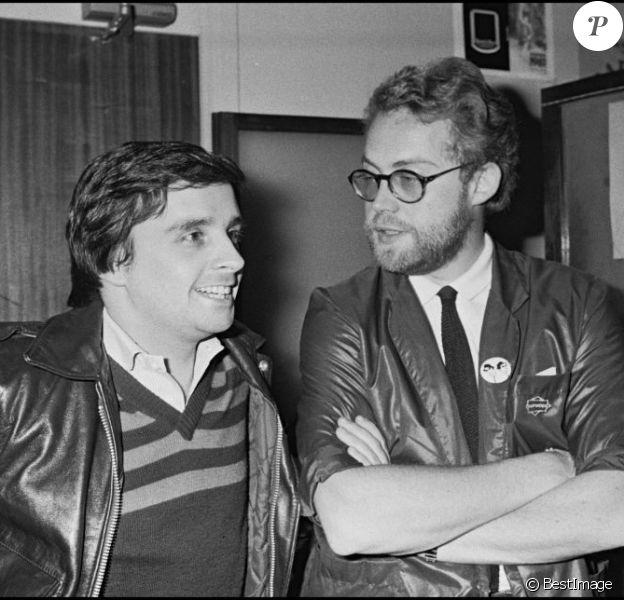 Thierry Le Luron avec Dominique Segall après un spectacle au Palais des Congrès le 24 novembre 1980.