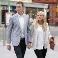 Johnny Evans et sa femmeà Manchester pour unrepas entre les joueurs de Manchester United le 20 août 2013.