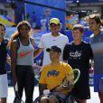 Rafael Nadal, Serena Williams et Roger Federer réunis pour le Arthur Ashe Kids' Day à New York, le 24 août 2013.