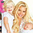 Couverture du magazine Us Weekly sur laquelle Jessica Simpson pose avec sa fille Maxwell (15 mois) et son fils Ace (bientôt 2 mois).