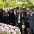 Francis Huster, Francoise Huth, les petites filles de Pierre Huth et James Huth aux obsèques de Pierre Huth à Nogent-sur-Marne le 30 août 2013.