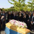 Michel Leeb, Francoise Huth, femme de Pierre Huth, James Huth, fils de Pierre Huth,aux obsèques de Pierre Huth à Nogent-sur-Marne le 30 août 2013.