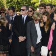 James Huth, Francis Huster, Francoise Huth et petites filles de Pierre Huth,aux obsèques de Pierre Huth à Nogent-sur-Marne le 30 août 2013.