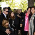 Francis Huster, Cristiana Reali et leurs filles Elisa et Toscane et Nathalie Huth aux obsèques de Pierre Huth à Nogent-sur-Marne le 30 août 2013.