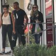 """Exclusif : Madonna, son boyfriend le danseur Brahim Zaibat, et sa fille Lourdes quittant le palais des Congrès où la star a assiste aux répétitions du show musical événement """"Robin des Bois"""", le 30 août 2013."""
