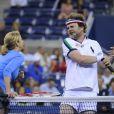 Rainn Wilson à l'US Open le 5 septembre 2013lors d'un match exhibition contre les anciennes gloires du tennis Monica Seles et Chris Evert.