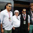 Sebastian Giovinco, Ronaldo, Bernie Ecclestone, Carlos Tevez et Fernando Llorente dans les travées du Grand Prix d'Italie à Monza, le 8 septembre 2013