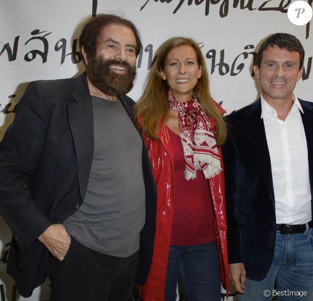 Marek Halter, Anne Gravoin et son mari Manuel Valls - Soirée du nouvel an juif chez Marek Halter à Paris le 8 septembre 2013.