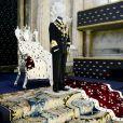 """L'inauguration de l'exposition """"40 ans sur le trône, 40 ans au service de la Suède"""" dans le cadre du jubilé des 40 ans de règne du roi Carl XVI Gustaf dans le palais royal de Stockholm, le 13 septembre 2013"""