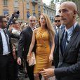 La divine actrice Blake Lively arrive au défilé de la maison Gucci dont elle est égérie, le 18 septembre 2013 à Milan