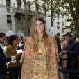 Bianca Brandolini d'Adda arrive au défilé Dolce & Gabbana printemps-été 2014 à Milan. Le 22 septembre 2013.