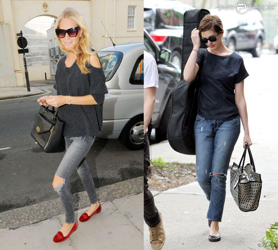 poppy delevingne vs anne hathaway qui porte le mieux le jean d chir. Black Bedroom Furniture Sets. Home Design Ideas