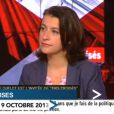 """Cécile Duflot face à Audrey Pulvar dans """"Tirs croisés"""" sur i-Télé le 10 octobre 2013."""