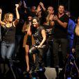 """Lorie, Amel Bent, Gregory Coupet, Leslieà Lyon, le 12 octobre 2013, lors de la 7ème édition de """"Foot-Concert"""" au Palais des sports."""
