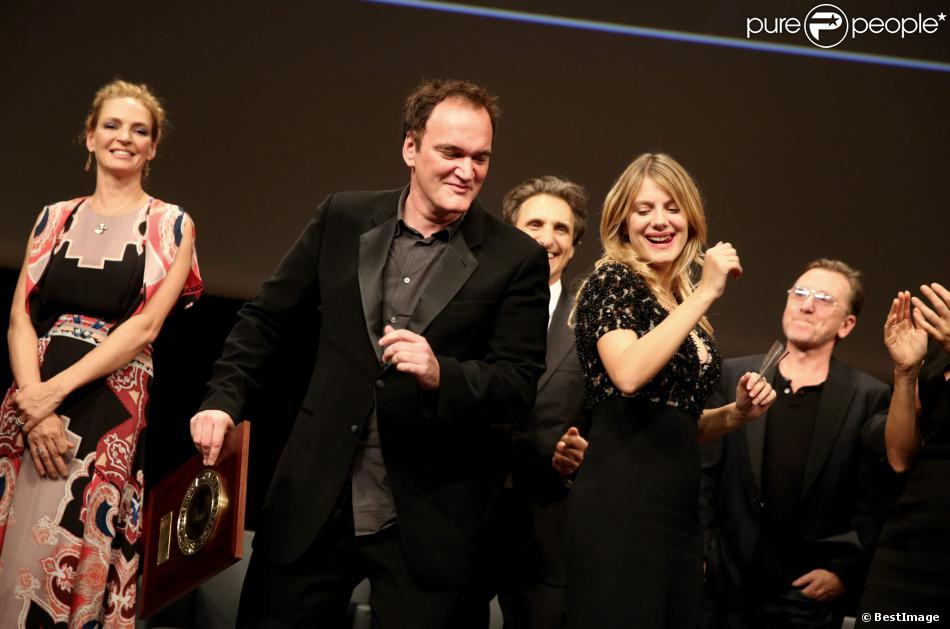Quentin Tarantino et Mélanie Laurent - Remise du Prix Lumière à Quentin Tarantino lors du Festival Lumière à Lyon le 18 octobre 2013.