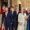 Pippa Middleton arrivant avec son frère James au baptême du prince George le 23 octobre 2013 au palais Saint James.