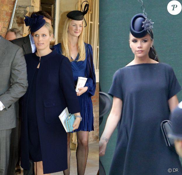 Zara Phillips enceinte au baptême du prince George de Cambridge le 23 octobre 2013 / Victoria Beckham au mariage du prince William et de Kate Middleton le 29 avril 2011